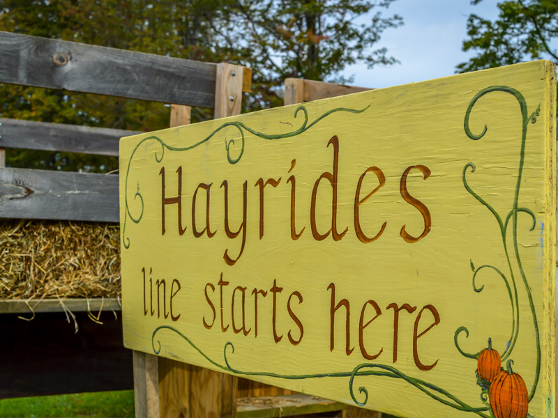 Hayride sign at Stony Hill Acres
